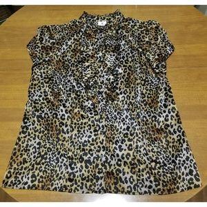 NWOT Worthington Leopard Print Blouse - Size 1X